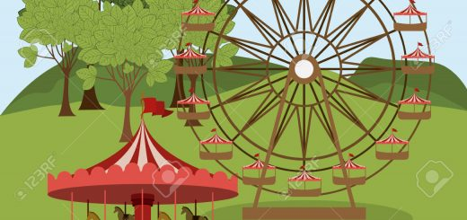 Fair design over landscape background, vector illustration